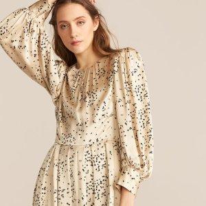 额外7折 封面印花真丝裙$96Rebecca Taylor 仙气重工美衣大促 欧根纱抽褶上衣$68