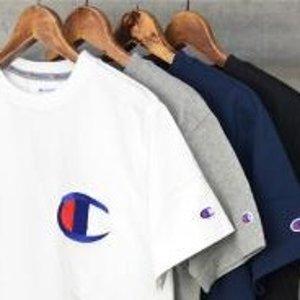 $9.99包邮CHAMPION 大C标男款短袖T恤 海蓝色