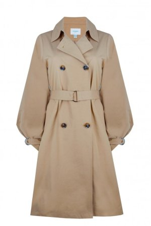 Jovonna Baloon Sleeve Double Breasted Trench Coat