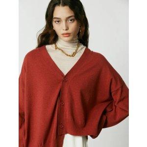 [U1F0K201/24] Back Button Unbalance Knit Cardigan_Red