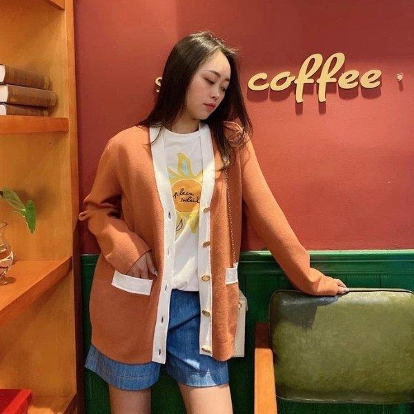 橘色针织外套