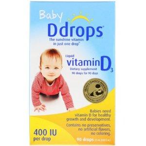 Ddrops Baby, Liquid Vitamin D3, 400 IU, 0.08 fl oz (2.5 ml), 90 Drops - Walmart.com