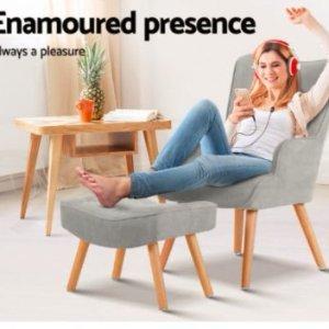 $151 (原价189)Artiss LANSAR  灰色单人沙发带脚凳