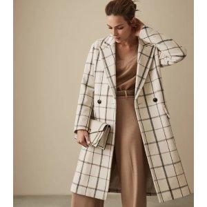 Reiss羊毛格纹大衣