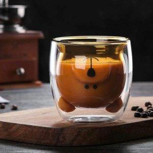 超可爱巧克力熊杯,双层玻璃杯