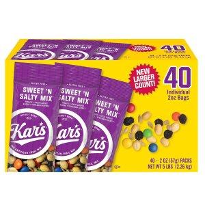 现价$9.98 一包只需$0.25Kar's 甜味坚果棒 2oz. 40包
