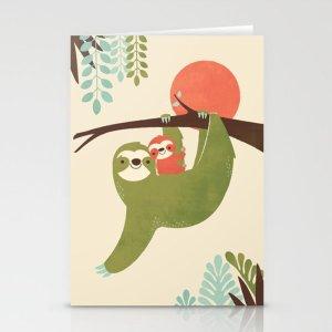 Society6Mama Sloth Stationery Cards by jayfleck