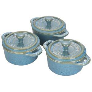 Staub带盖烤碗3件套 铁锈蓝