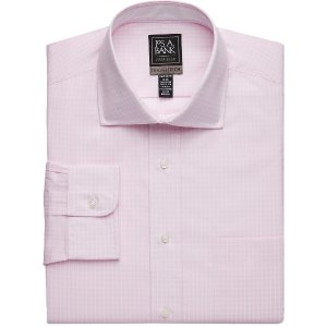 4 for $125Travel Tech Tailored Fit Spread Collar Check Dress Shirt