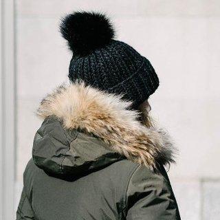 Crown Cap Fur Pom-Pom Cable-Knit Beanie @ Barneys Warehouse