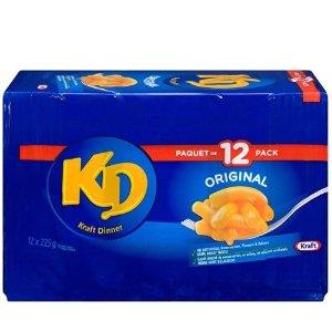 $8.99(原价$15.24)Kraft Dinner 卡夫原味浓香芝士通心粉 225克×12盒