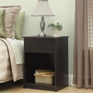 $30Mainstays 1-Drawer Nightstand / End Table, Espresso