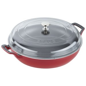 Staub法国制造 电磁炉可用铸铁圆形煎锅 3.25L 透明锅盖