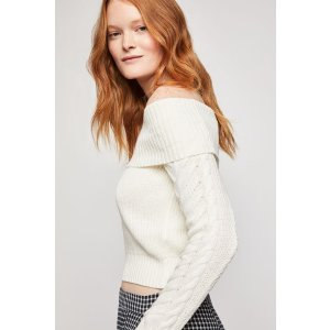 BCBGenerationOff The Shoulder Cable Sweater