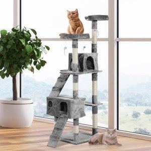 $86.04(原价$112.99)免邮闪购:PawHut 多层猫爬架/猫树 67英寸 打造猫咪小天地