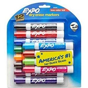 $7.99(原价$17.99)EXPO 12色可擦白板笔 斜方头