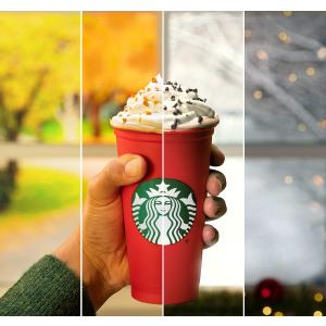 仅限11月2日限今天:Starbucks 星巴克 前50名购买节日特饮的顾客 送限量版咖啡杯