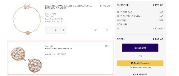 Swarovski官網必敗優惠碼2019, 全場首飾低至6.5折熱銷, 訂單$175-$300享8折/訂單$300-$600享7.5折/訂單$600以上享6.5折