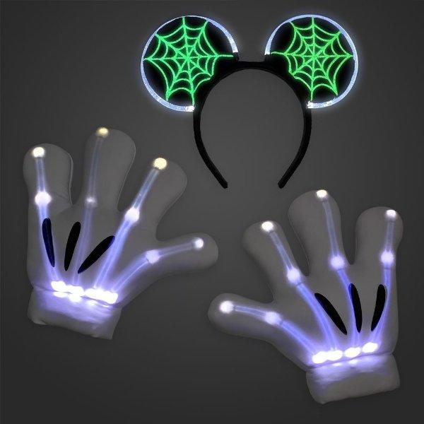 成人款 米奇耳朵发箍和米奇骨架手套,可亮灯