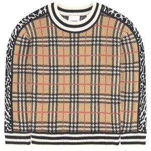 Burberry立减$30大童 美利奴格纹羊毛衣