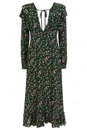 Ghospell Floral Maxi Dress With Side Stripe