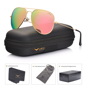 $16LUENX Men Aviator Sunglasses Polarized - UV 400 Protection with case 60MM Classic Style