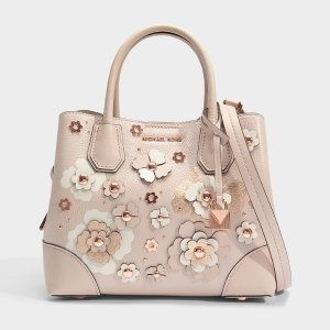 306eb0644879 MICHAEL MICHAEL KORSMERCER GALLERY SMALL CENTER ZIP SATCHEL BAG IN SOFT  PINK DOUBLE SIDED MERCER PEBBLE