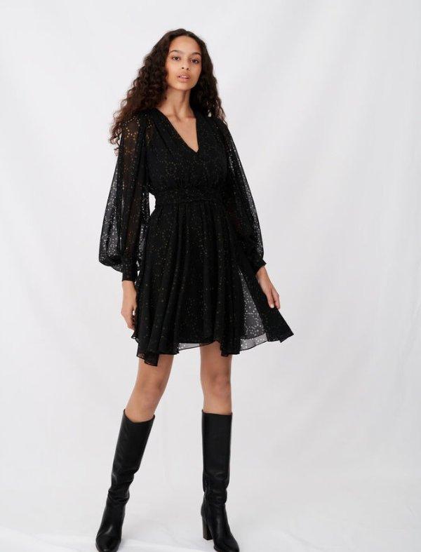 镂空黑色连衣裙