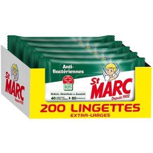 平均€0.028/张 法亚销冠St Marc 抗菌消毒湿巾 5包200张仅€5.9 消除99.9%的细菌