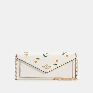 CoachSlim Envelope Wallet With Chain With Daisy Embroidery