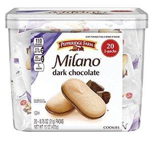 $6.57 销量冠军史低价:Pepperidge Farm Milano 盒装黑巧克力饼干 20包