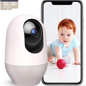$63.14(原价$99.99)Nooie 婴儿/宠物监控摄像头 看娃神器 运动跟踪、红外夜视