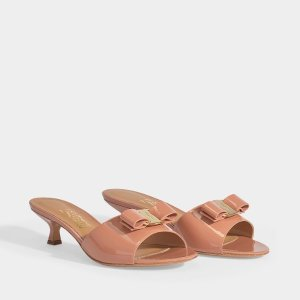 Salvatore FerragamoGinostra Patent Peep Toe Mules in New Blush Patent Leather