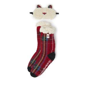 DearfoamsWomen's Plaid Blizzard Slipper Sock with Bear Eye Mask