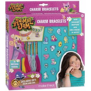 plushibleMake It Real - Animal Jam Charm Bracelets. DIY Animal Jam Themed Charm Bracelet Making Kit for Girls. Arts and Crafts Kit to Create Unique Tween Bracelets with Cord, Chains and Metallic Charms…