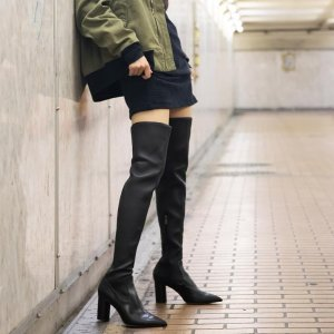 Pedder RedPOINTED CYLINDER HEEL OVER THE KNEE BOOTS BLACK KID LEATHER