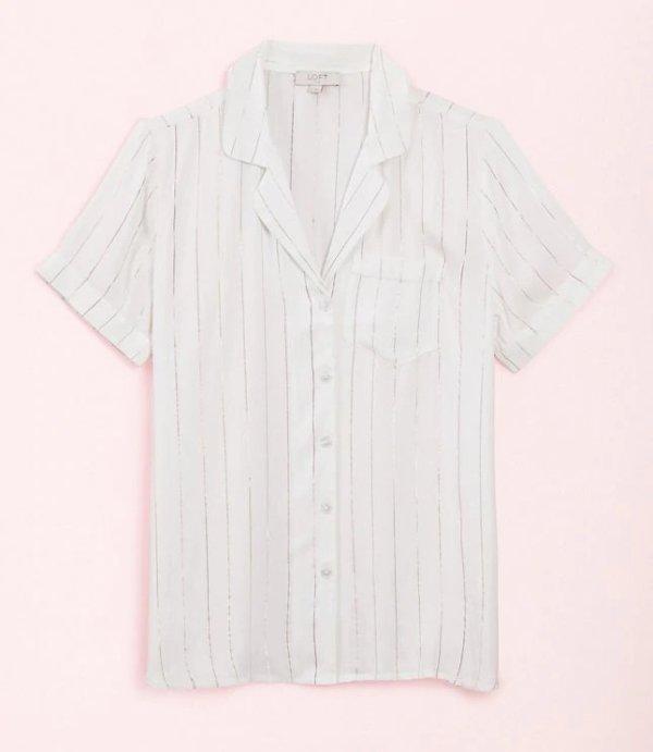 短袖条纹衬衣