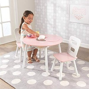 KidKraft Round Table and 2 Chair Set, White/Pink @ woot!