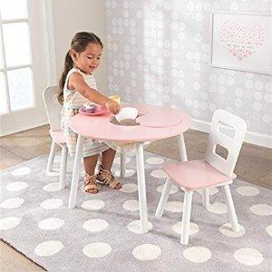 $39.97KidKraft 儿童木质圆桌3件套 粉色
