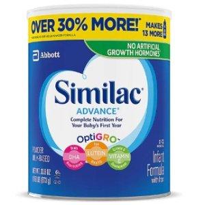 $15.3Similac Advance 30oz大容量婴儿1段含铁奶粉