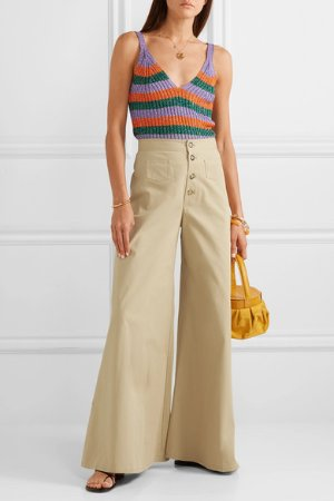 STAUD | Martin cotton-blend gabardine wide-leg pants | NET-A-PORTER.COM