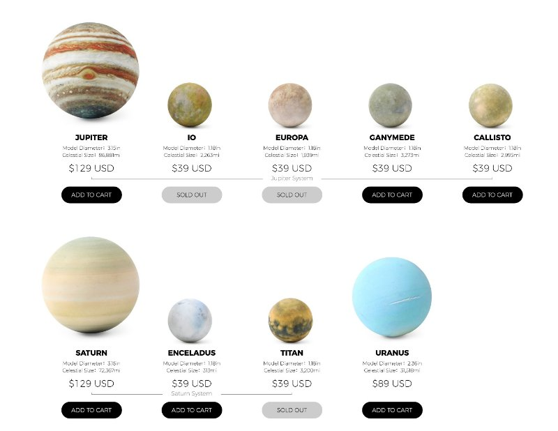 18 models of solar system planets and moons