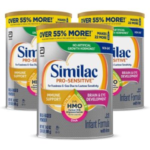 Similac需点击$20扣券+SS订购Pro-Sensitive 非转基因敏感型婴儿奶粉,3罐
