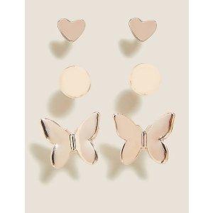 3 Pack Butterfly Stud Earrings