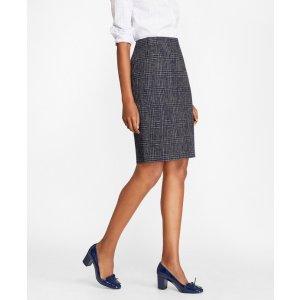Plaid Tweed Pencil Skirt - Brooks Brothers