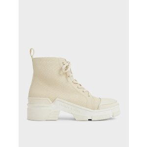 Charles & KeithChalk Canvas High Top Sneakers | CHARLES & KEITH