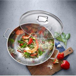 折上折仅€56 送玻璃锅盖WMF WOK 中式炒锅热促 抛光表面超高颜值