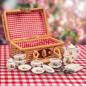 mini泰迪熊餐具 17件 野餐篮