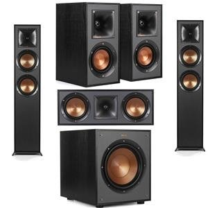 Klipsch 2 Pack R-625FA Dolby Atmos Floor standing Speaker - Bundle With R-41M Bookshelf Home Speakers, R-52C Center Channel home speaker, R-100SW 300W Subwoofer