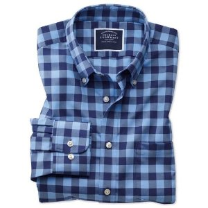 Charles TyrwhittSlim fit button-down non-iron twill blue and navy gingham shirt